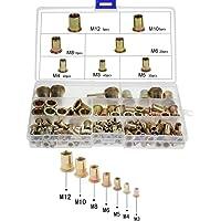 Klinkmoeren, blindklinknagelmoeren verzinkt koolstofstaal vlakke kop schroefdraad Niet inzetstuk assortiment Set M3 M4…