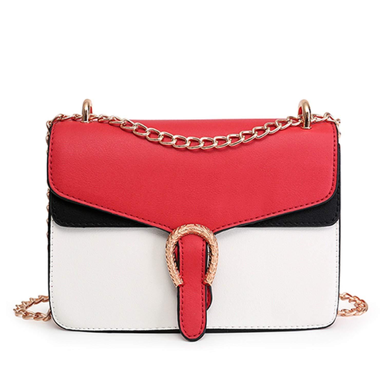 Red Designer Handbag PU leather embossed Shoulder Bags fashion Women Bag Chain Cross Bag Brand,Black