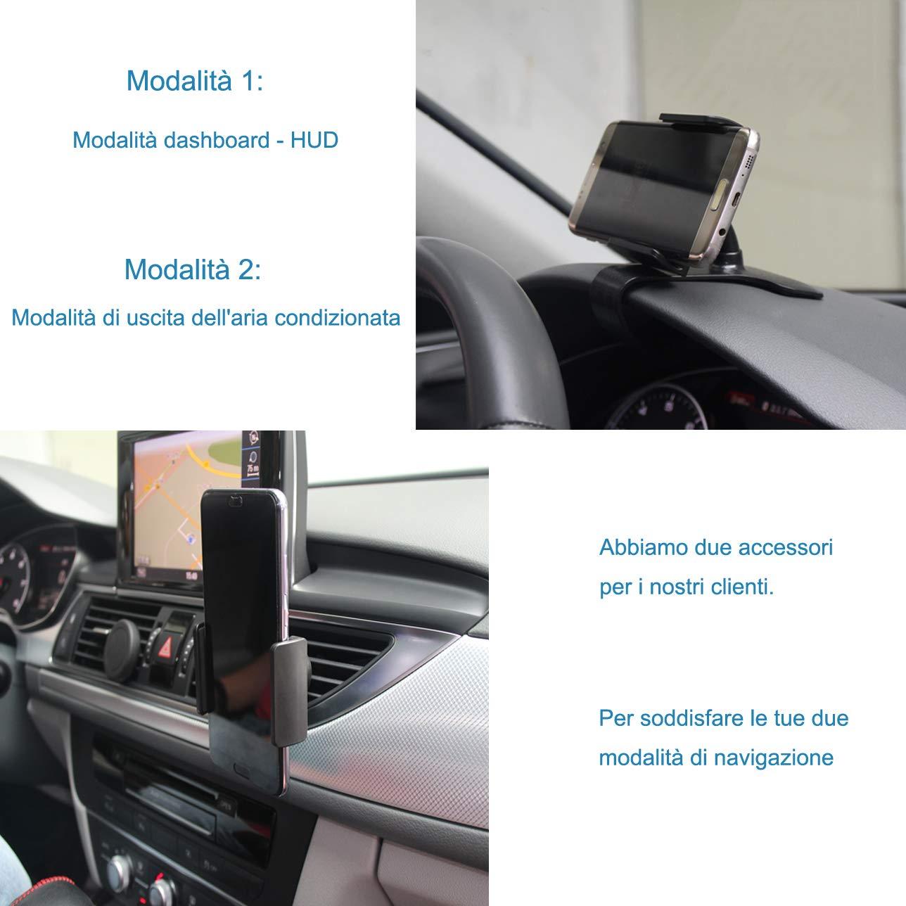 ZOORE Supporto Telefono per Auto, Porta Cellulare per Bocchette dell\'Aria, Rotazione 360 Gradi Universal iPhone Huawei Samsung GPS e Altri dispositivi Cellulari Car Regolabile cruscotto del Supporto
