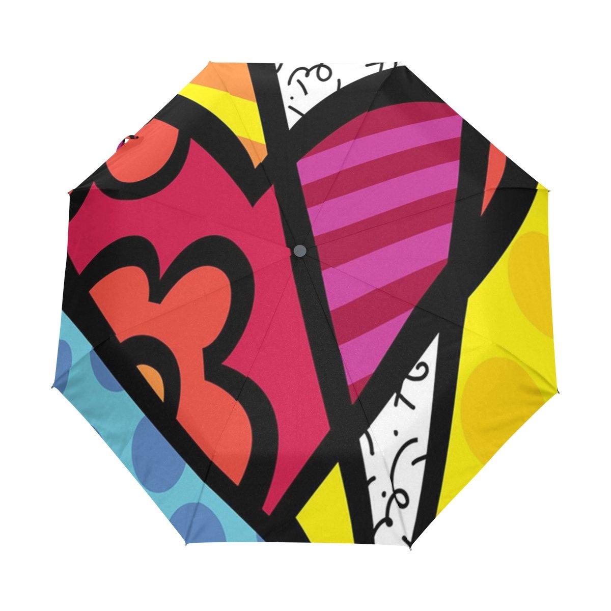 Naanle Romero Britto Art Painting Love Auto Open Close Foldable Windproof Umbrella