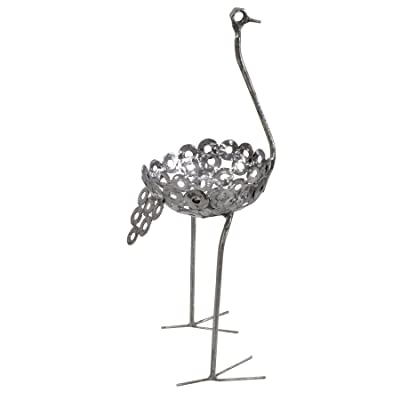 African Recycled Metal Ostrich Plant Holder Statue, Small: Home & Kitchen
