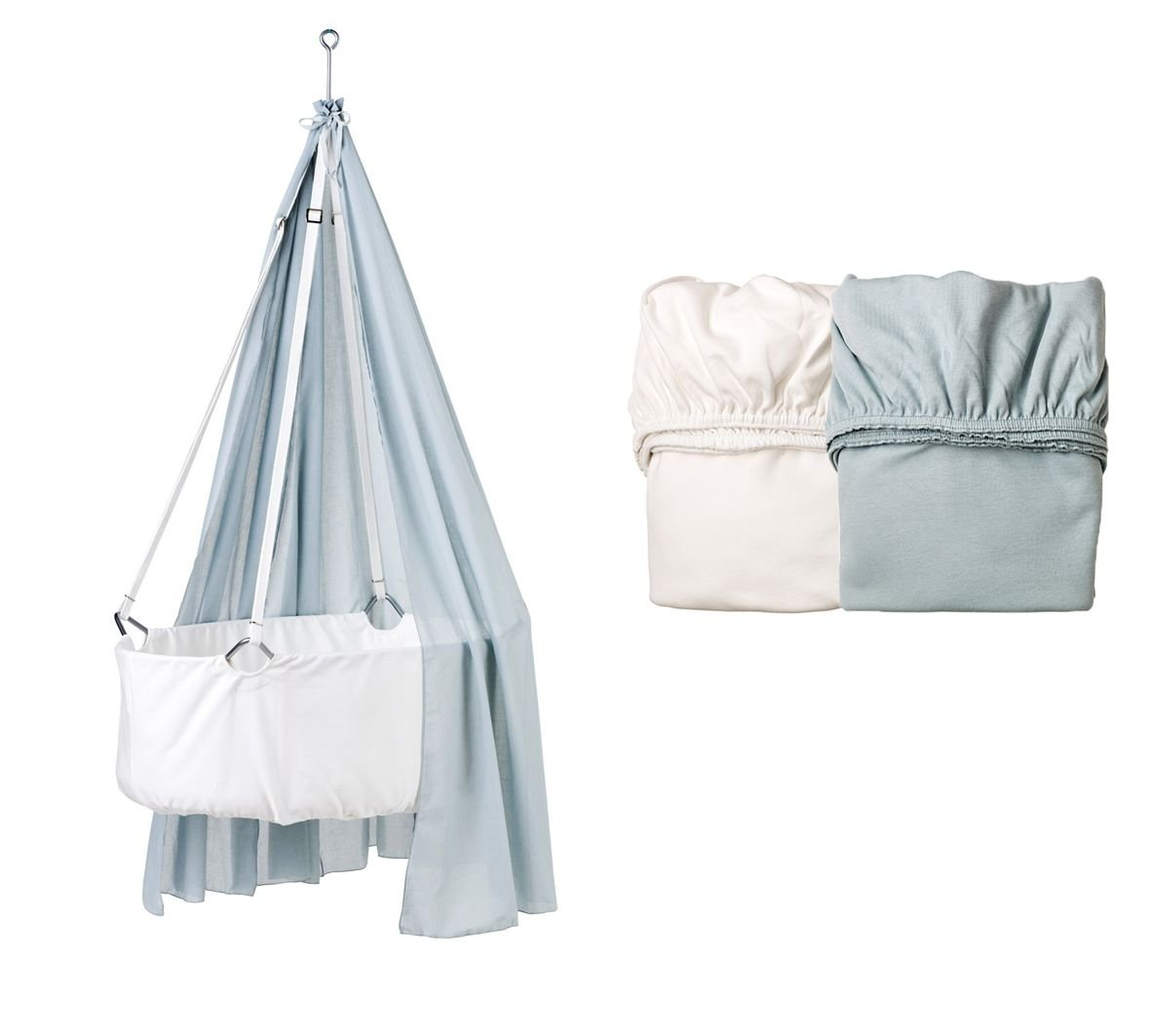Leander Wiege weiß mit Träumeland Matratze, Deckenhaken, Himmel (Schleier) misty blue, 2 Stück Original-Spannbetttücher misty blue/weiß
