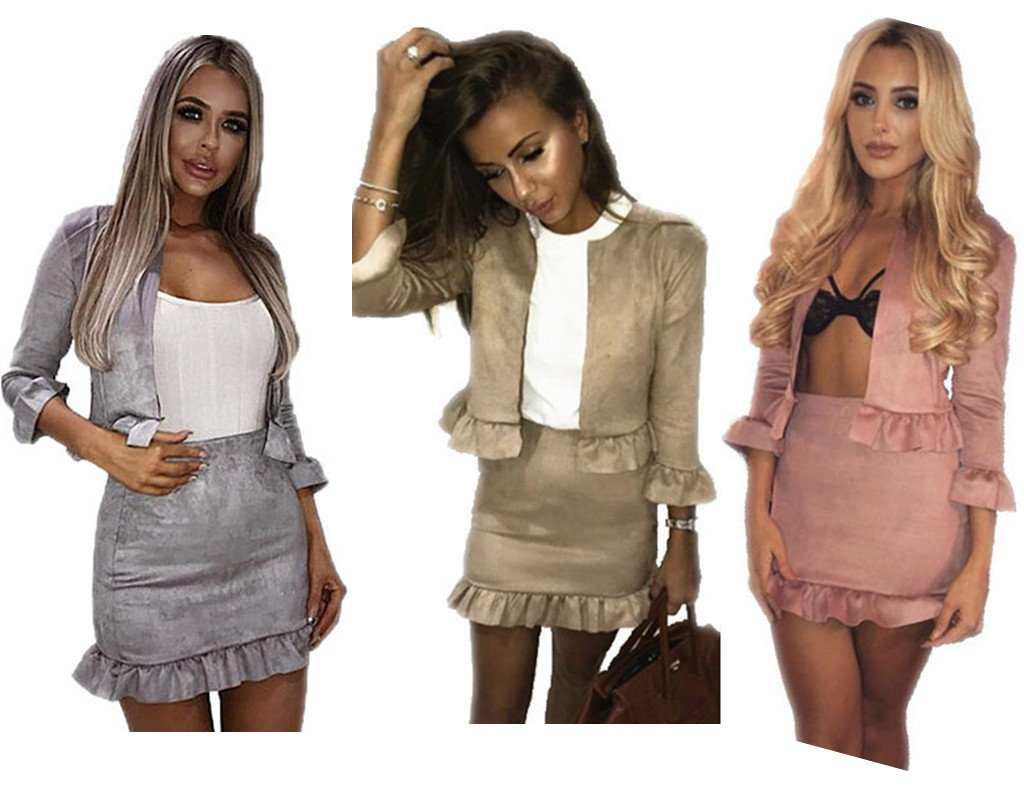 GirlFriendMaterial Women Jacket 2 Piece CO-Ord Suede Twinset Frill Ruffle Blazer Pencil Skirt Bodycon Dress Party Size UK 4-16 GFmaterial Girl Friend Material
