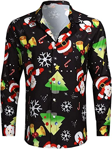 Mens Boys Christmas Print Santa Button Down T Shirt Long Sleeve Party Tops