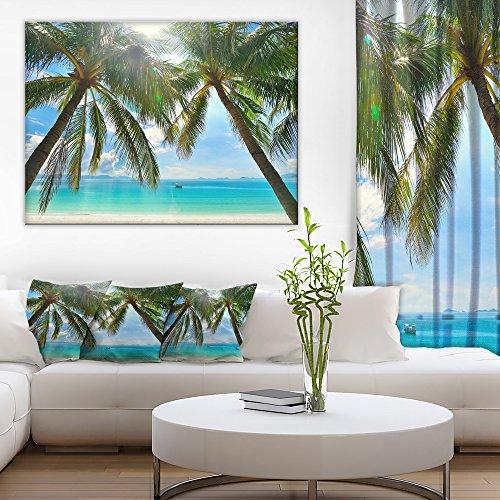 (Palm Hanging over Sandy White Beach Seashore Photo Canvas Art Print)