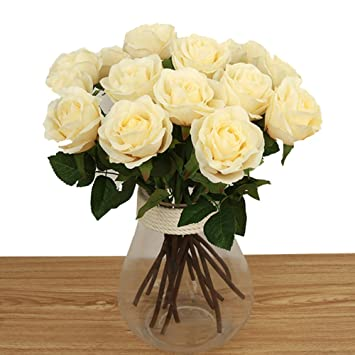 Bringsine Artificial Flowers Silk Flowers Artificial Rose Flowers Home Decorations For Bridal Wedding Bouquet