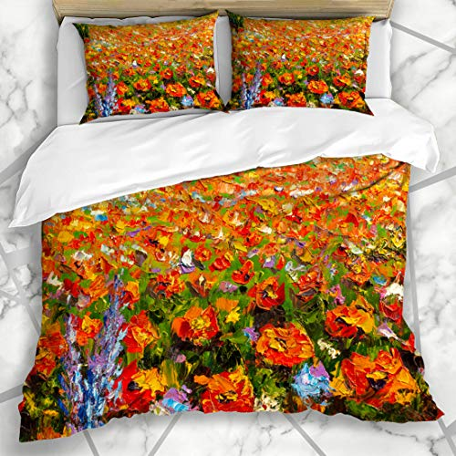 Ahawoso Duvet Cover Sets King 90x104 Artistic Red Flowers Paintings Monet Claude Impressionism Paint Nature Parks Bloom Blossom Field Fine Impasto Design Microfiber Bedding with 2 Pillow Shams (Bloom Pillow Sham)