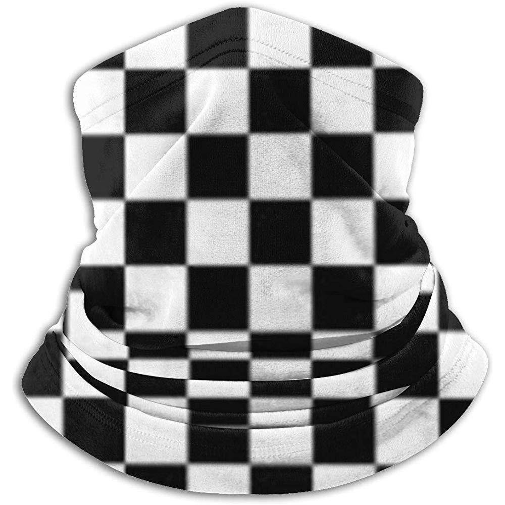 Negro Blanco Rejilla Stock Vector Invierno Cálido Calentador Polainas Tubo diadema Mascarilla Térmica Cuello Bufanda Protección UV al aire libre