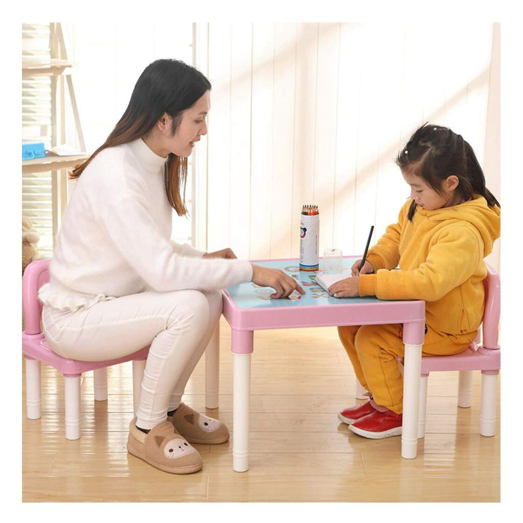Sallymonday Kids Table and Chairs Set Family Time, Toddler Activity Chair Best for Toddlers Reading, Train, Art Play-Room Little Kid Children Furniture Accessories - Plastic Desk (Pink) by Sallymonday