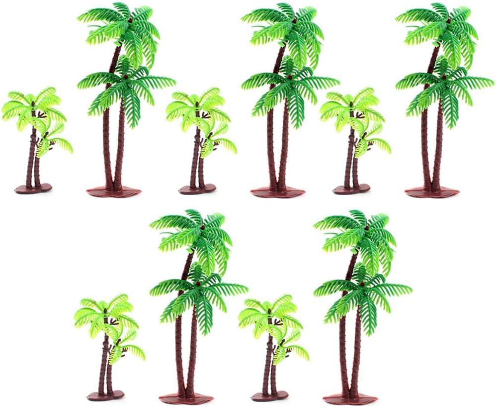 XinliePalmeras de Coco Modelo árboles Diseño del Modelo Tren Palmera de Selva Tropical Artificial Plastic Layout Diorama de Selva Tropical Árboles Modelo de Construcción Topper Ferrocarriles (10 PCS)