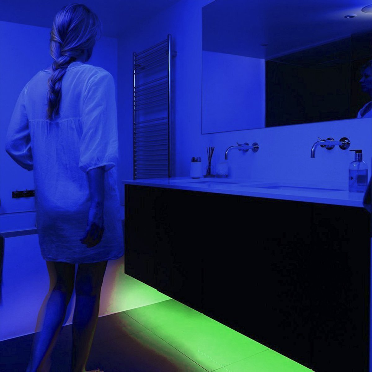 LEHOU Under Bed Light Motion Activated Illumination RGB Color Include Warm Color Automatic Staircase Lighting LED Strip Sensor Night Light Bathroom,Wardrobe,Kitchen - 1.5m/4.9ft x 2 by LEHOU (Image #7)