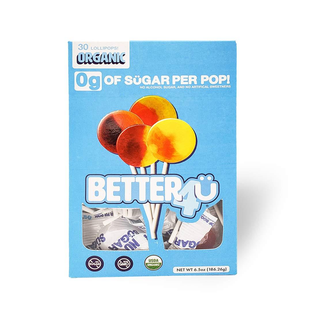 Better4Ü Organic No Sugar Fruit Lollipops, Assorted Flavors, 30 Pops