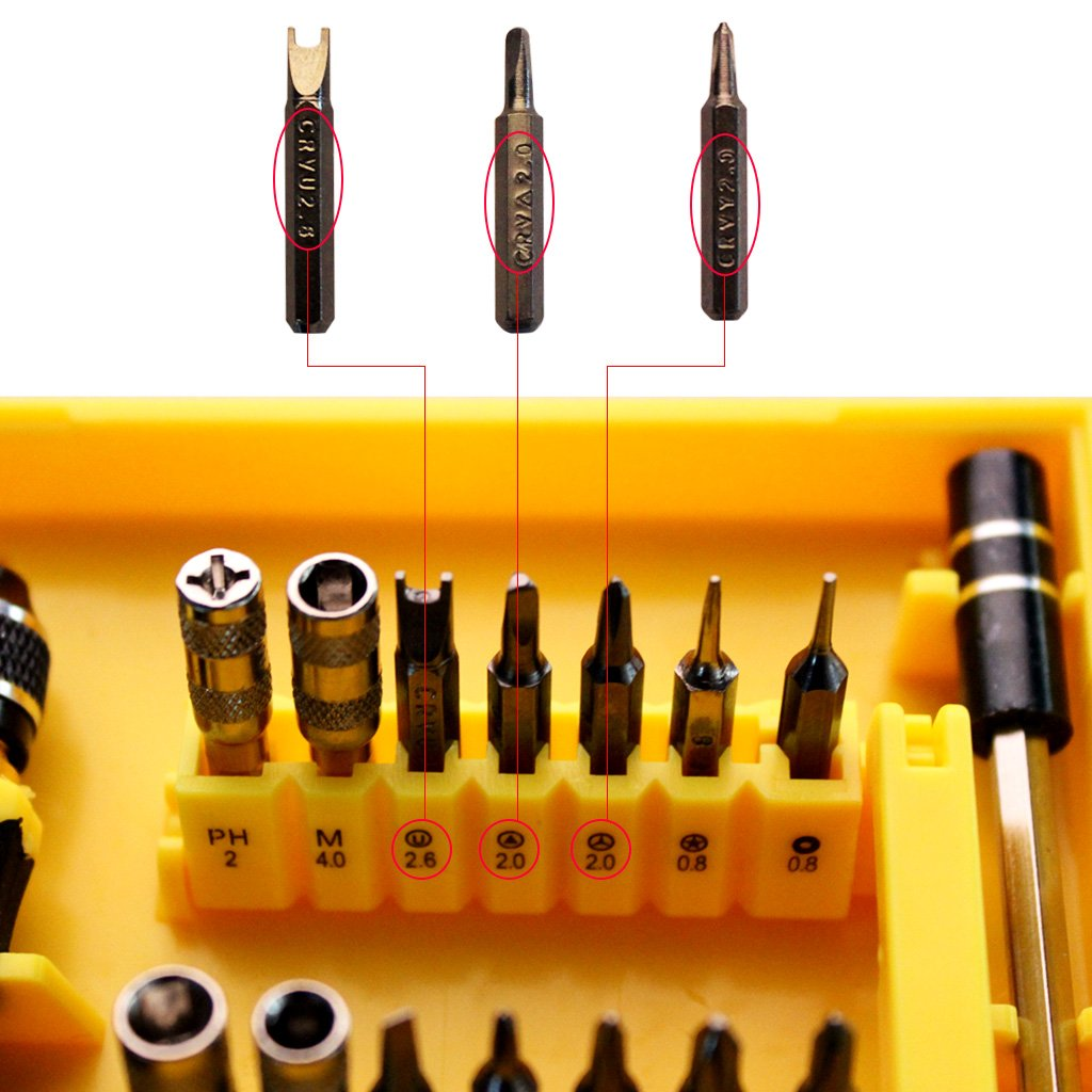Yougai 38-Piece Precision Computer Repair Tool Kit for iPad,iPhone,PC,Watch,Samsung and Other Smartphone Tablet Computer Electronic Devices (Yellow-38 in 1) by Yougai (Image #4)