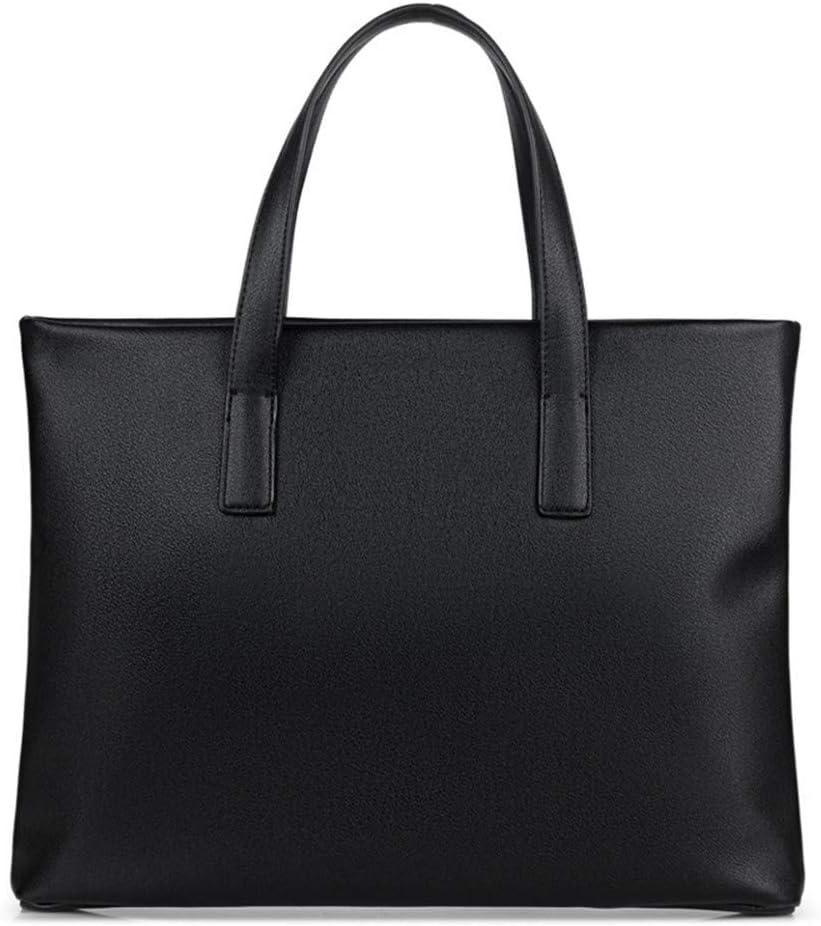 Color : Black Gohbqany Mens Briefcase Cross-Section Solid Color Laptop Bag Mens Handbag Business Briefcase Laptop Bag