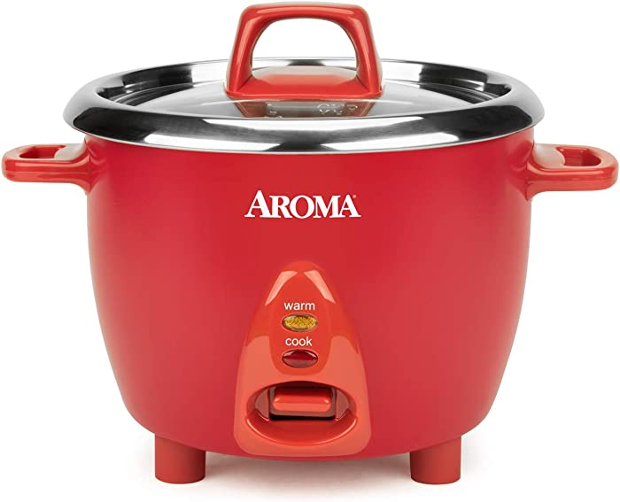 Aroma Housewares Select Stainless Rice Cooker & Warmer with Uncoated Inner Pot, 6-Cup(cooked)/ 1.2Qt, ARC-753SGR, Red