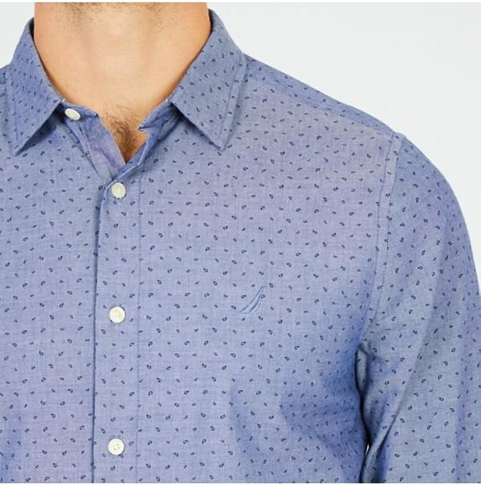 Nautica Long SLV Signature Print Stretch Slim Fit Button Down Shirt