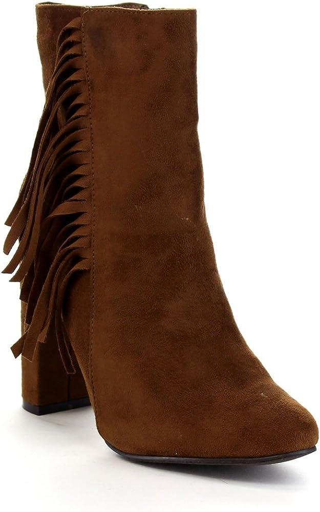 Color:TAN Breckelles LISA-12 Womens Elegant Fringe Chunky Heel High Top Ankle Booties Size:7