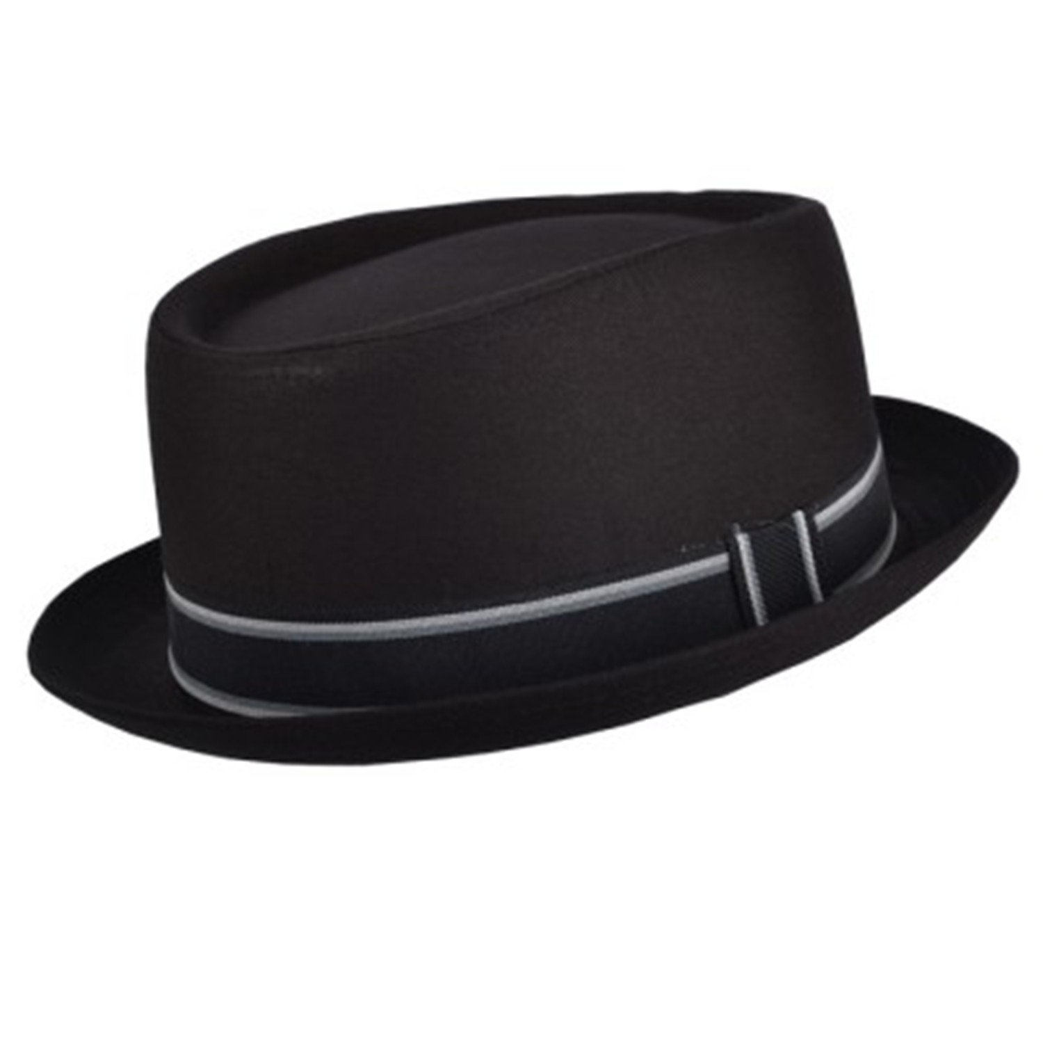 Black Cotton Porkpie Trilby Hat with grey band (59cm large/xlarge)