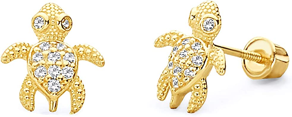 Wellingsale 14K Yellow Gold Polished Sea Star Stud Earrings With Screw Back
