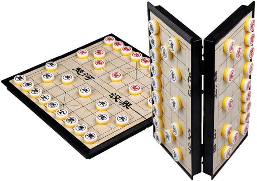 QAZXSW 체스 세트 중국어 자기 체스 휴대용 접는 체스 판 어린이 성인 교육 경쟁 여행 게임 체스