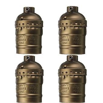 Kingso 4x E27 Lampenfassung Kupfer Vintage Lampe Retro Diy
