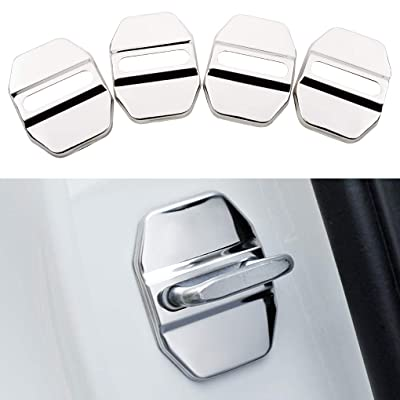 Car Door Lock Latches Cover Protector for BMW F30 F31 F34 F35 F36 F10 F11 M3 M5 X1 X2 X3 X4 X5 X6Car Accessories, 3M Adhesive Backing( Pack of 4) (Stainless steel door lock cover bright silver): Automotive