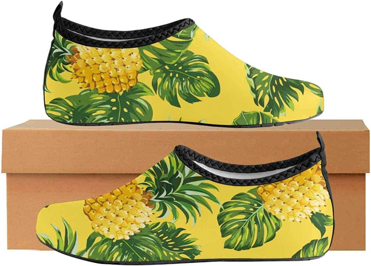 INTERESTPRINT Mens Quick Dry Barefoot Aqua Shoes Pineapples Tropical Leaves Pool Water Beach Shoes