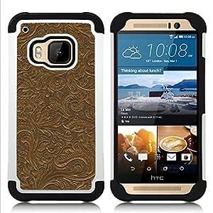 - pattern wall design plants leaves brown/ H??brido 3in1 Deluxe Impreso duro Soft Alto Impacto caja de la armadura Defender - SHIMIN CAO - For HTC ONE M9