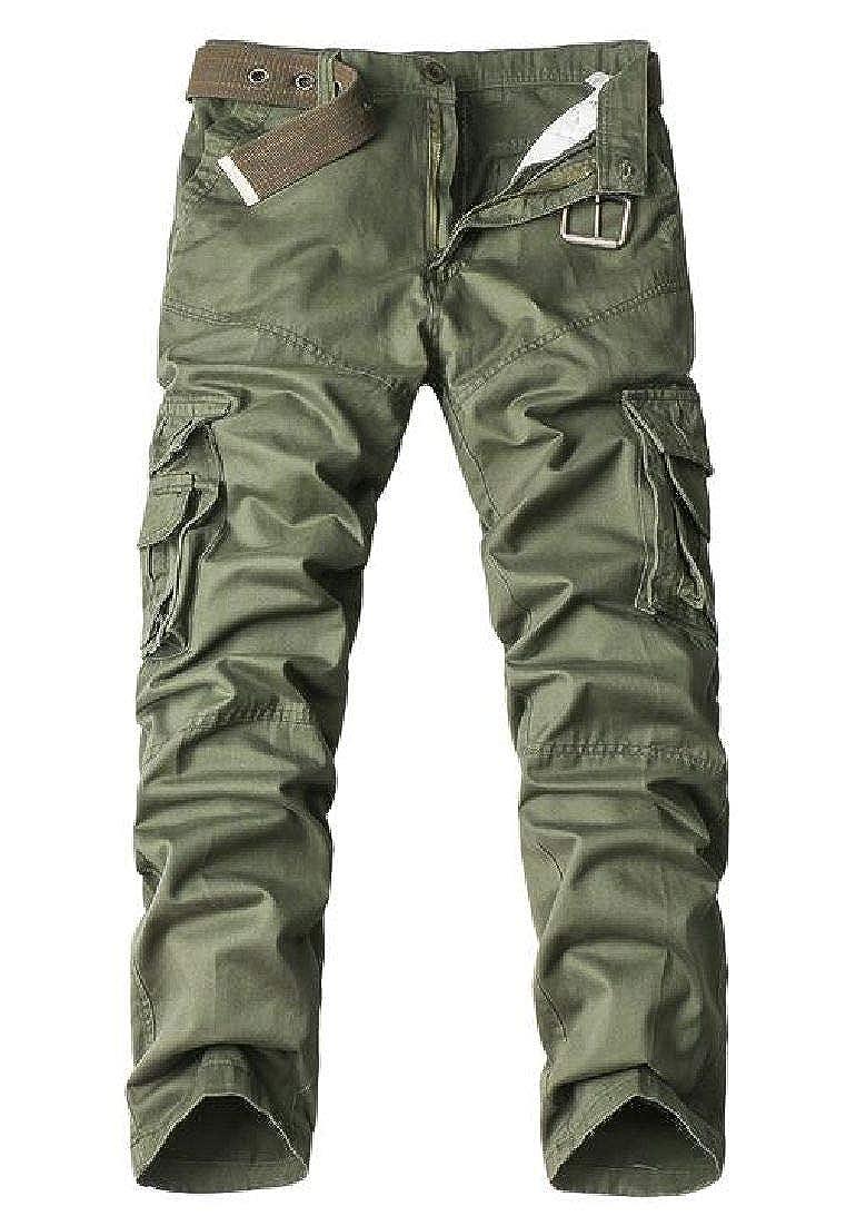 KLJR Men Casual Solid Color Outdoor Multi Pockets Military Cargo Pants