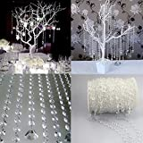WOAIWO-Q 99FT--Clear Diamond Garland Strands Crystal Beads for Home Christmas Decoration Wedding Decoration (White.PACK OF 2)