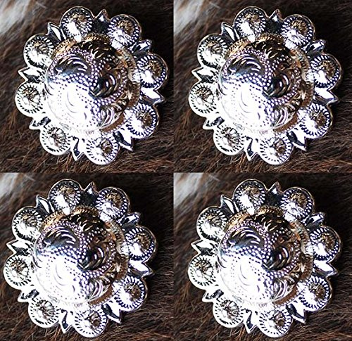 4 Conchos Silver Horse Saddle Tack Western Bridle Berry Concho - Finish Barrel Silver