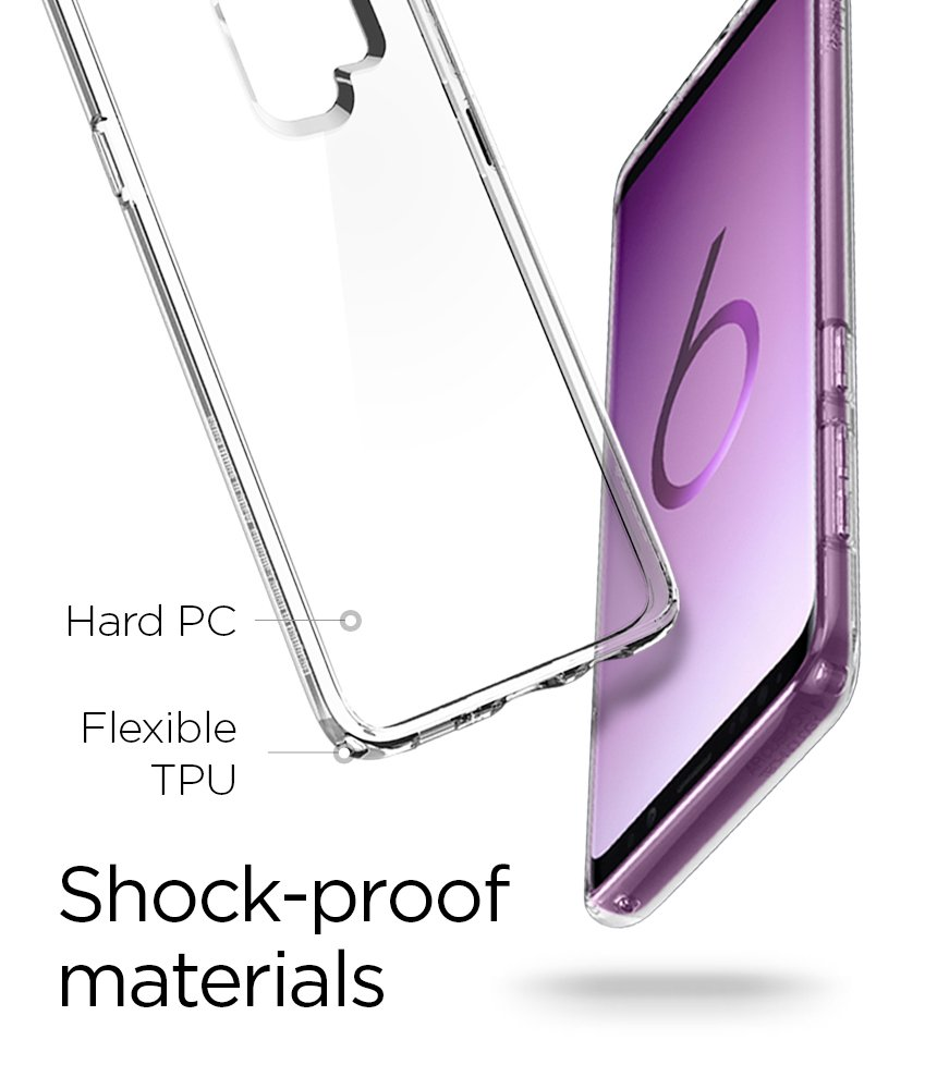 Spigen Ultra Hybrid Galaxy S9 Plus Case with Air Cushion Technology and Clear Hybrid Drop Protection for Samsung Galaxy S9 Plus (2018) - Crystal Clear by Spigen (Image #8)