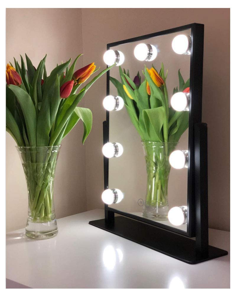 Large Vanity Mirror With Lights - Hollywood Style Makeup Vanity Mirror with Lights,3 Color Lighting Model, Cosmetic Mirror with 9 Detachable Dimmable Bulbs for Dressing Table£¨Black£