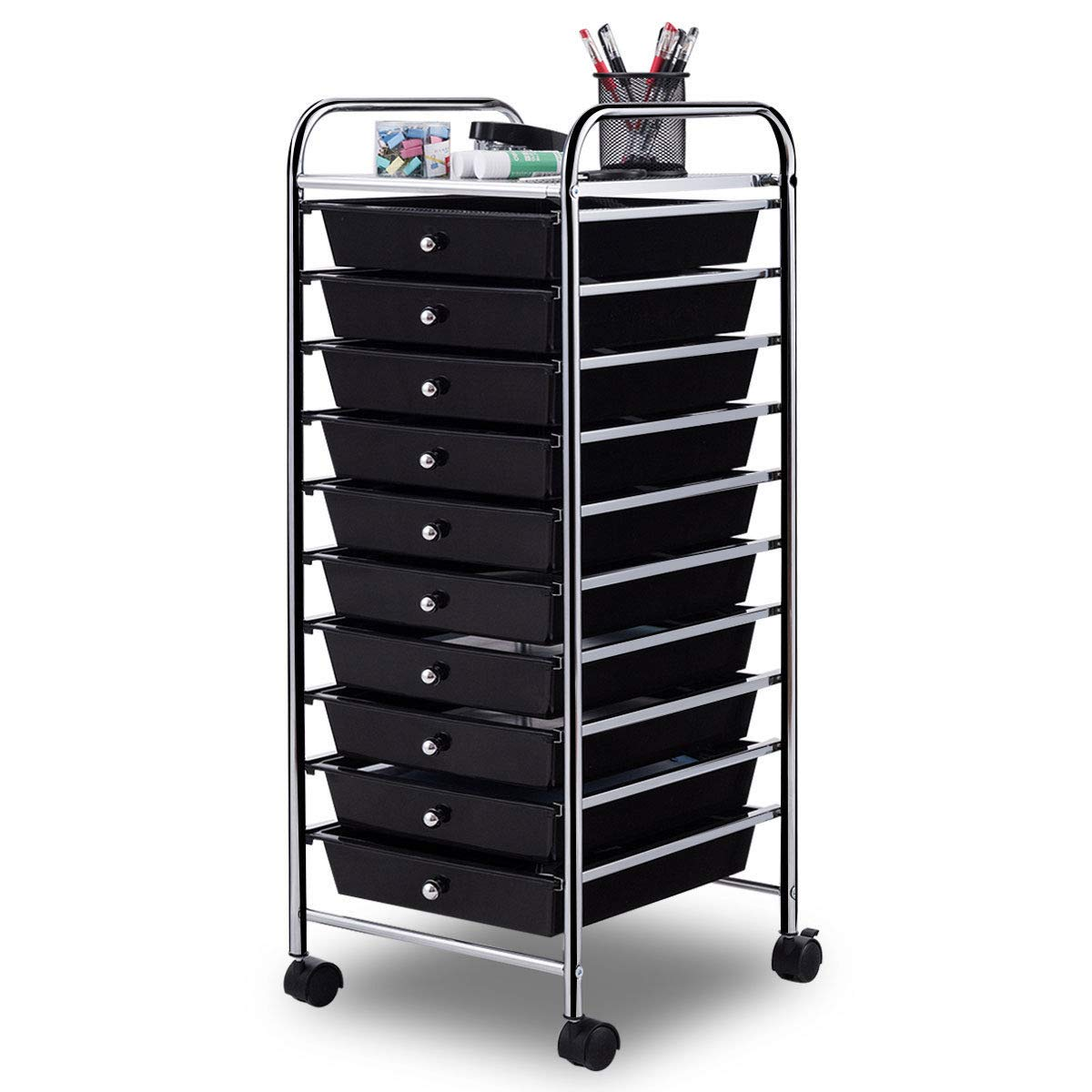Giantex 10 Drawer Rolling Storage Cart Scrapbook Paper Office School Organizer (Black)