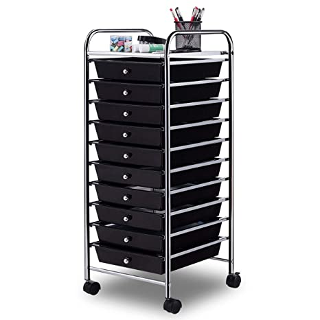 Giantex 10 Drawer Rolling Storage Cart Scrapbook Paper Office School  Organizer Clear (Black)