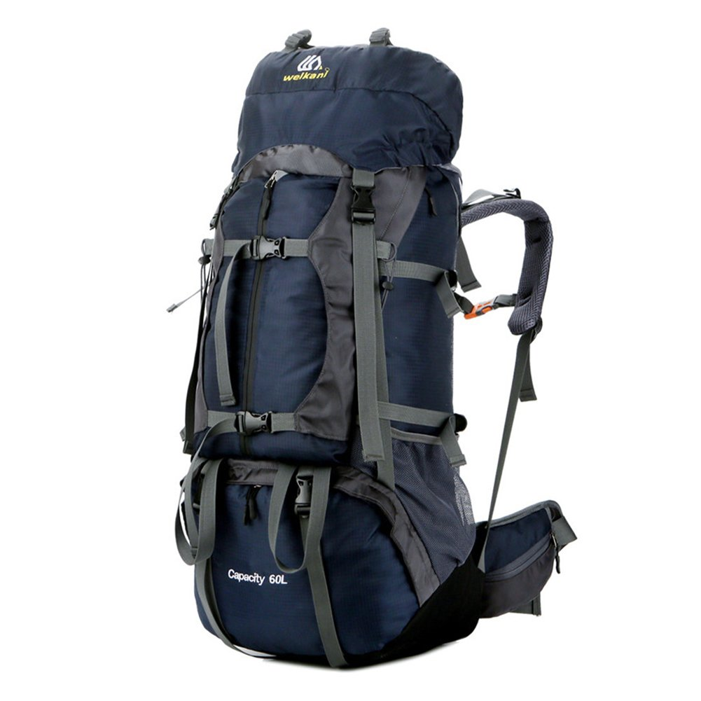 ONEPACK 60L Hiking Backpack for Men and Women Travel Backpack Waterproof Nylon Backpacking Backpack Camping Backpack Mountaineering Backpack with Rain Cover (blue)