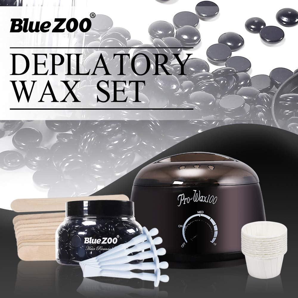 Yu2d ???????? Wax Warmer Heater Pot Machine Kit 150g Wax Beans 10pcs Hair Removal Sticks(Black)
