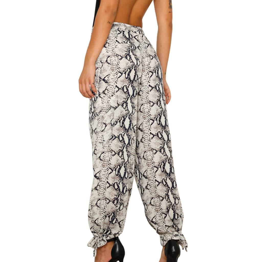 TnaIolral Women TrouserSnake Skin Print Ribbons Loose Long Pants Black by TnaIolral (Image #2)
