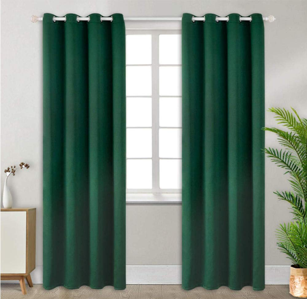 RJYHJL Blackout Room Darkening Curtains Dark green solid color drapes Bedroom Thermal Insulated kids city children window Home Decoration living room Super Soft Panels 2 x W46 x L54 Inch