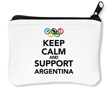 Keep Calm Support Argentina Billetera con Cremallera Monedero Caratera