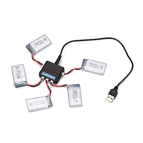 Lorenlli 5Pcs 3.7V 800mAh Batería + 5 en 1 Cargador USB Apto para ...
