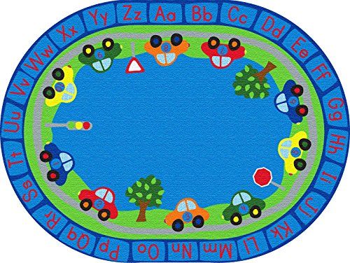 ECR4Kids School Classroom Learning Carpet, All Around Cars Educational Alphabet Rug for Children, Oval, 9 x 12-Feet by ECR4Kids (Image #6)