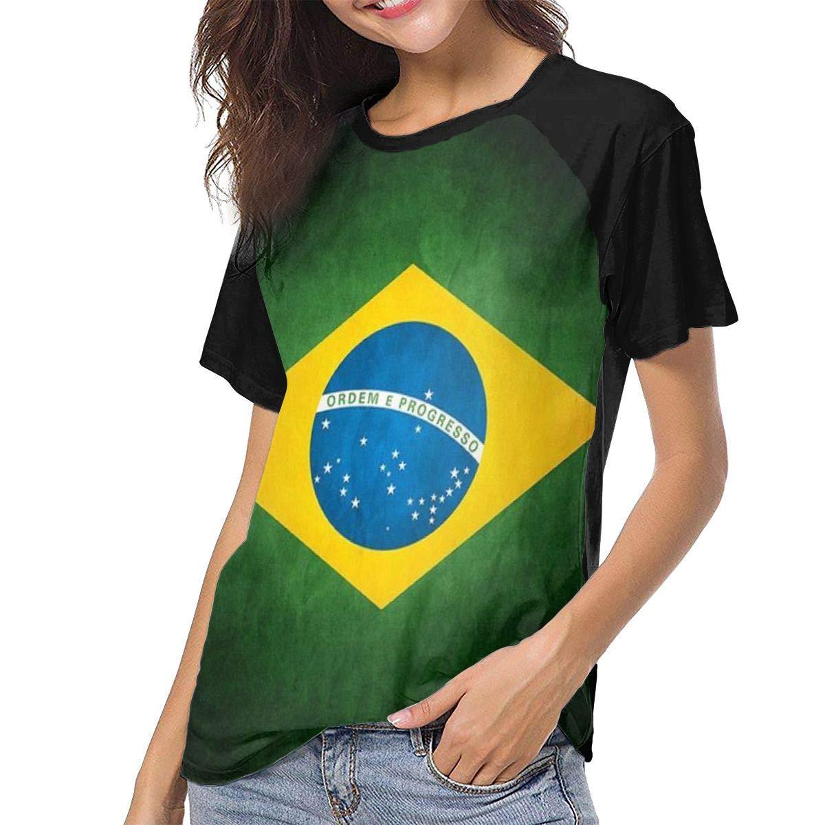 QWXZC Brazilian Flag Womens Short Sleeves Baseball Tee Casual Raglan Shirt Baseball Raglan T-Shirt.Black.