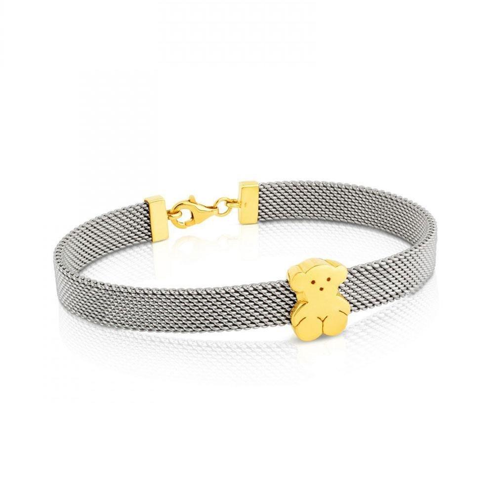 TOUS Gold and Steel Mesh Sweet Dolls Bear Bracelet