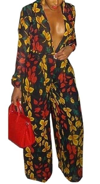 8b0395552087 Smeiling Women s Deep V Neck Long Sleeve Floral Print Wide Leg Jumpsuit  Rompers ...