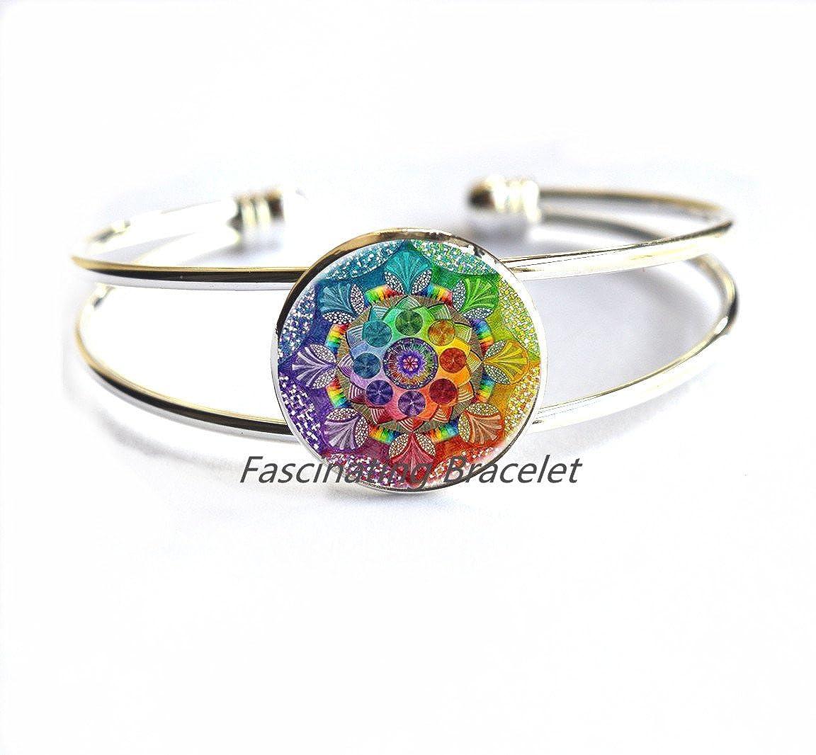 /Fashion Bracelet,Handmade henna yaga Bracelet om symbol buddhism Mandala Bracelet Bracelets Art Jewelry Glass Photo Bracelet,AE0046