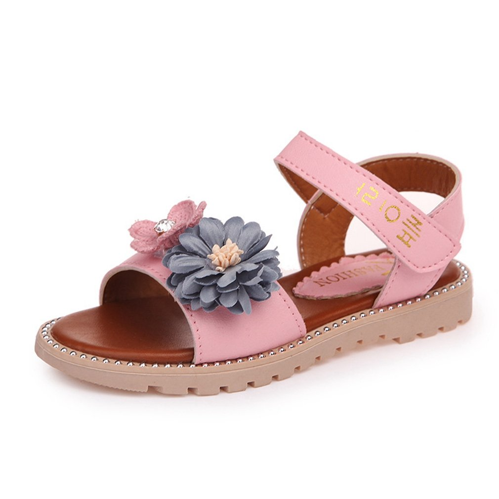CYBLING Girl's Summer Breathable Open Toe Strap Sandals Flower Casual Flats