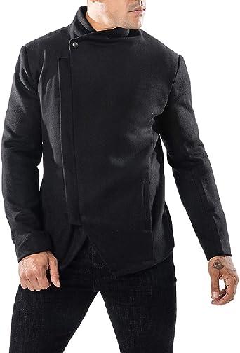 Zimaes-Men Pocket Stand Collar Thick Zip Pure Colour Warm Plus Size Down Parka