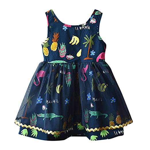 Summer Toddler Baby Girl Childrens Sleeveless Cartoon Dinosaur Print Skirt Dress Clothes Girls Clothes Summer Lace Dresses Clothing Sets