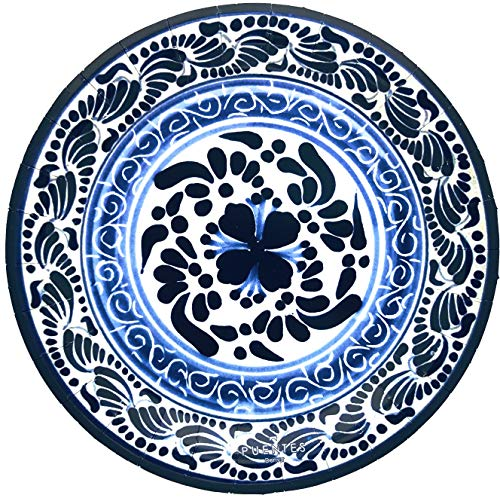 Paper Plates Mexican Design Talavera Design Mexico Themed Party Fiesta, 40-Pack -